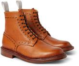 Grenson + Neighborhood Charles Burnished Pebble-grain Leather Brogue Boots