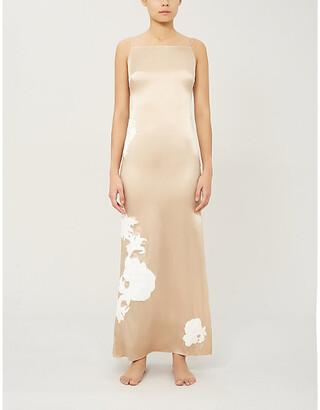 Myla Primrose Hill floral-embroidered stretch silk-satin night dress