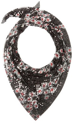 Paco Rabanne Floral-print Chaimail Mesh Scarf - Womens - Black Multi
