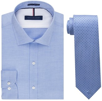 Tommy Hilfiger Men's Slim Fit Solid Dress Shirt and Core Micro Tie Combo