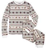 PJ Salvage Girls' Waffle-Knit Fair Isle Pajama Set - Little Kid