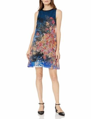 Julia Jordan Women's Sleeveless Jewel Neck Dress with All Over Print