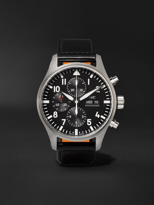 IWC SCHAFFHAUSEN Pilot's Automatic Chronograph 43mm Stainless Steel And Leather Watch, Ref. No. Iw377709