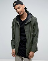Rains Short Hooded Jacket Waterproof in Green