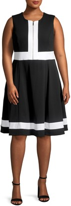Calvin Klein Collection Front Zip Colorblock Fit-&-Flare Dress