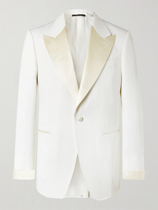 Tom Ford Slim-Fit Satin-Trimmed Wool and Mohair-Blend Tuxedo Jacket - Men - Neutrals