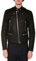 Lanvin Asymmetric-Zip Leather Jacket W/Fur Trim, Black