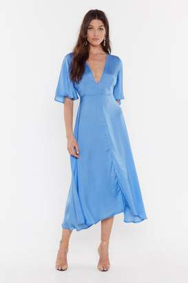 Nasty Gal Womens Give It a Whirl Plunging Dress - Blue - 12