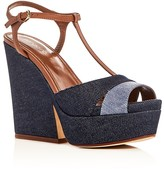 Sergio Rossi Denim Platform Wedge Sandals