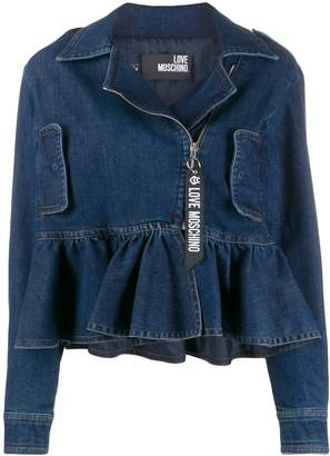 Love Moschino ruffled-hem denim jacket