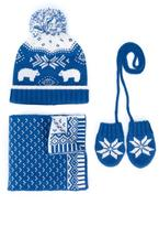 Tartine et Chocolat knit hat, scarf and mittens set