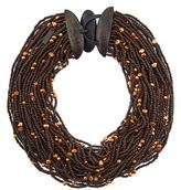 eskandar Multistrand Coco Beads And Pearl Necklace