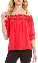I.N. San Francisco Off-The-Shoulder Crochet Trim Top