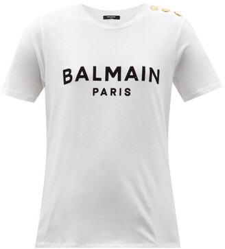 Balmain Buttoned-shoulder Logo-print Cotton-jersey T-shirt - White Black