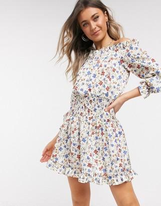 ASOS DESIGN shirred satin mini dress with pephem in floral print