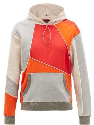Ahluwalia Hooded Upcycled Patchwork Sweatshirt - Mens - Grey