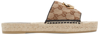 Gucci Beige Canvas GG Espadrille Sandals