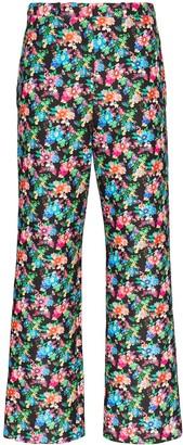 Paco Rabanne Cropped Floral-Print Slim-Leg Trousers