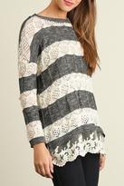 Umgee USA Lace Hemline Sweater