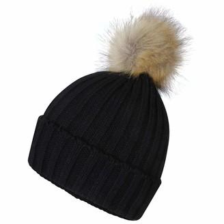 Pro Climate Ladies Acrylic Ribbed Turn Up Beanie Faux Fur Pom Pom Hat Winter Warm (Black)