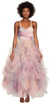 Marchesa Pastel Tulle Ruffles w/ Corseted Bodice Cocktail Dress Women's Dress
