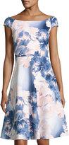 Neiman Marcus Floral-Print Scuba A-Line Dress, Multi