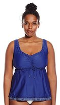 Maxine Of Hollywood Women's Plus-Size Ditzy Dot Flyaway Tankini