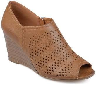 Brinley Co. Women's Faux Leather Peep-toe Laser Cut Wedges