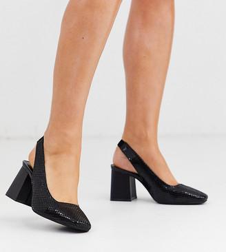 Simply Be wide fit sling back square toe block heel in black