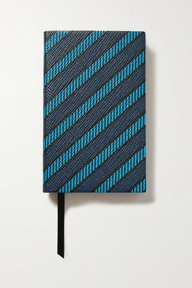 Smythson Panama Printed Textured-leather Notebook - Blue