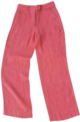 Salvatore Ferragamo Pink Linen Trousers for Women Vintage