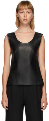 Totême Black Leather Bergara Tank Top