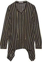 Etro Striped Silk-blend Chiffon Shirt - Black