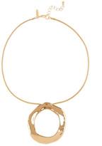 Natasha Accessories Gold-Tone Uneven Circle Pendant Necklace