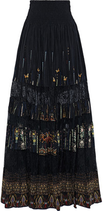 Camilla Rebelle Rebelle Embellished Printed Washed-silk And Corded Lace Maxi Skirt