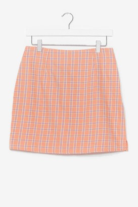 Nasty Gal Womens Plaid Your Cards Right High-Waisted Mini Skirt - Pink