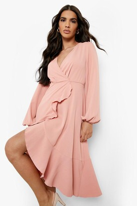 boohoo Crepe Ruffle Wrap Midi Skater Dress
