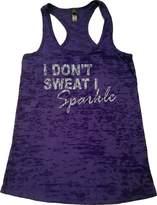 Orange Arrow Women's Glitter I Don't Sweat I Sparkle Burnout Tank (, Purple)