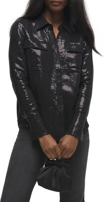 Good American Sheer Sequin Button Up Shirt