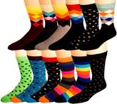 Men's Cotton Blend Socks, Fun & Funky Patterns & Colors -12 Pack- by Zeke