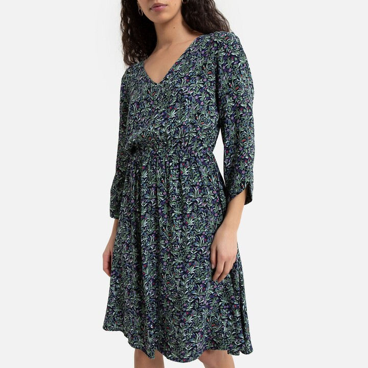 Vero Moda Flared Mini Dress in Floral Print with 3/4 Length Sleeves