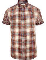 River Island MensRed check short sleeve shirt