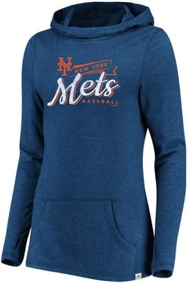 Majestic Women's Blue New York Mets Winning Side Long Sleeve Tri-Blend Cowl Hoodie