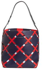 Calvin Klein Patchwork Quilt Leather Bucket Bag