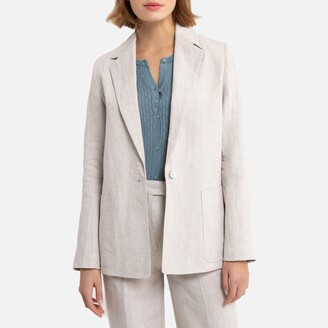 La Redoute Collections Linen Single-Breasted Blazer