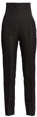 Alexandre Vauthier High Rise Twill Slim Leg Trousers - Womens - Black