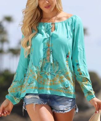 Ananda's Collection Women's Tunics Aqua - Aqua Embroidered Front-Tie Long-Sleeve Tunic - Plus