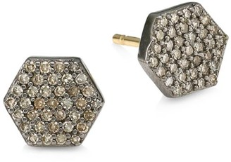 Nina Gilin 14K Black Rhodium Silver & Diamond Stud Earrings