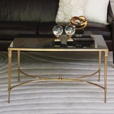 The Well Appointed House Global Views French Square Leg Table in Brass with Black Granite Top