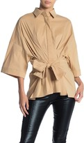Gracia Tie Front Wide Sleeve Blouse